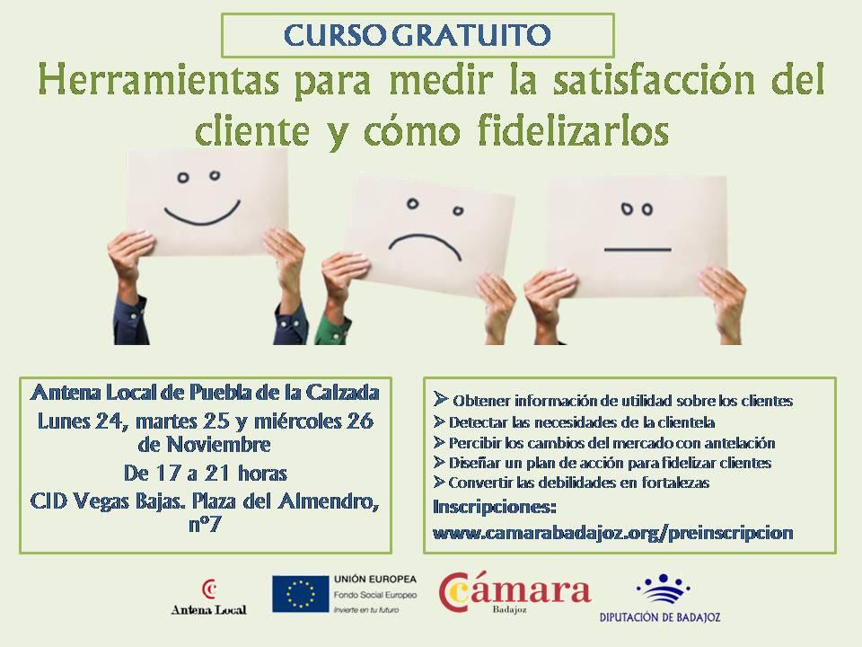 """curso gratuito en Puebla de la calzada sobre """"herramientas para fidelización y satisfacción declientes"""""""